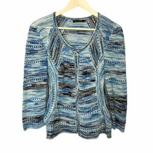 Nic + Zoe Cardigan Sweater Blue Striped Knit Sz XL
